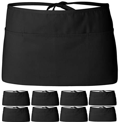 Wealuxe 12Pack Server Waist Aprons - Professional Waitress Kitchen Restaurant Half Apron for Men Women with 3 Pockets  Black  Bulk 12 Pack