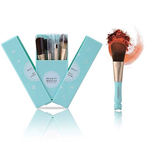 Dosige 7 pcs Set Cheveux en Nylon Artificiel Souple Pinceaux Professionnel Pinceaux de Maquillage Envoyer Une Cartouche de Brosse avec Un Miroir - Bleu Clair