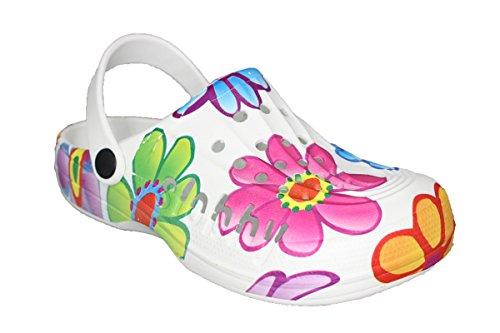 Damen Slobby Eva Clogs | Hausschuhe Gartenclogs | Beruf Pantoletten | Freizeit Sauna Badeschuhe | Fersen Komfort Riemen | Slipper Sandalen Schuhe | BA560 (38, Bunt)