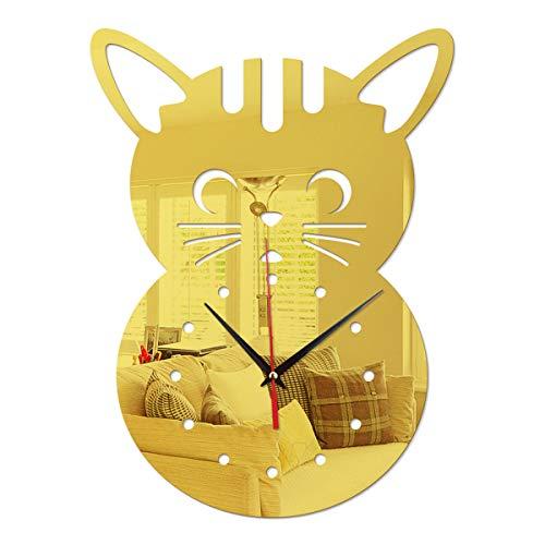 Chat De Dessin Animé DIY Pendules Murales Mode Et Horloges DéCoratif Fois Acrylique Batterie,Gold