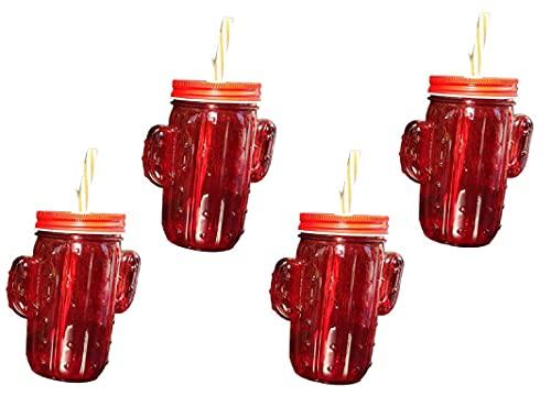 Pack de 4 vasos de cristal con pajita reutilizable y tapa enroscable...