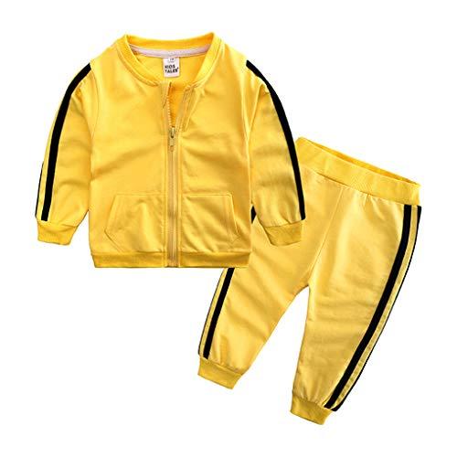 Geagodelia Babykleidung Set Baby Jungen Mädchen Kleidung Outfit Jogginganzug Jacke Top + Hose Jogginghose Neugeborene Weiche Babyset (Gelb 87, 6-12 Monate)