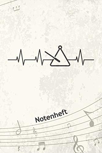 NOTENHEFT: A5 Musik Notenblock für Musiker Komponisten - 120 Seiten Notenlinien Blanko Notenpapier - für Musikinstrumente Instrumente - Triangel ... Trianglist - Triangel Herzschlag Matte Cover