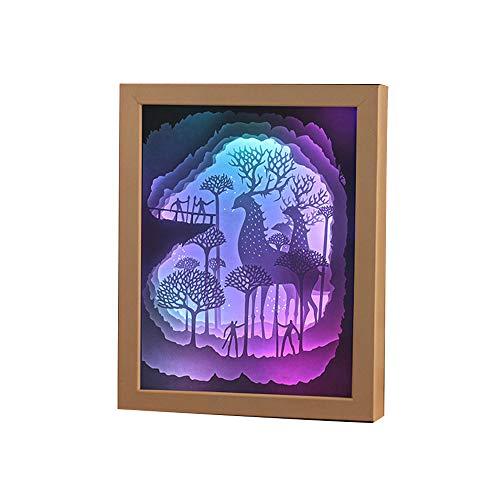 Prtukytt Carta Fai da Te Carving la Luce di Notte della Lampada Alce energia LED Risparmio processo di Taglio Laser di Protezione degli Occhi di Natale di Halloween miglior Regalo