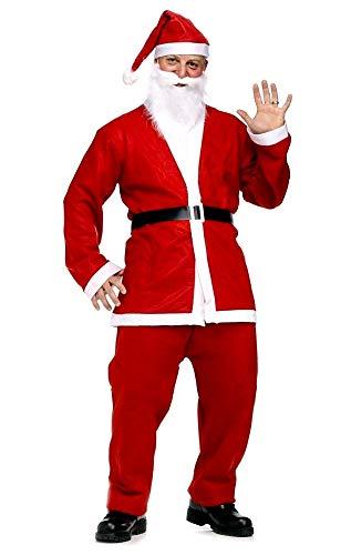 Santa claus-kostuum - volwassen - man - carnaval - halloween - rood en wit - tuniek - broek - hoed - baard - riem - feestjes - een maat