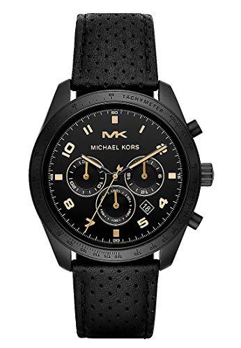 Michael Kors Herren Chronograph Quarz Uhr mit Leder Armband MK8705