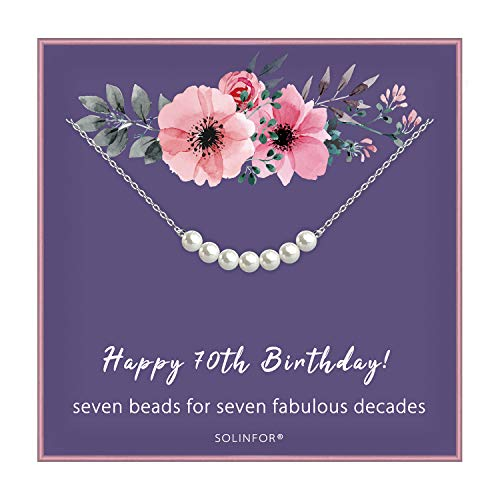 SOLINFOR 70th Birthday Gifts for Women - Sterling Silver Necklace Seven Pearls for Her 7 Decades - 70 Years Old Jewelry Gift Idea (70th)