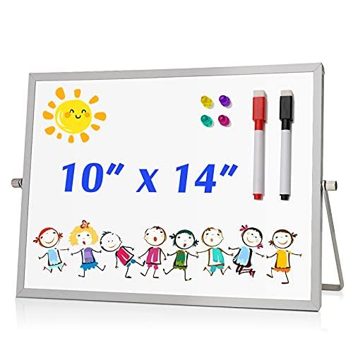ROCONTRIP Pizarra blanca portátil con borrable en seco, pizarra magnética de doble cara de aluminio con bolígrafos magnéticos y clavo redondo para dibujar textos en la oficina de la escuela familiar