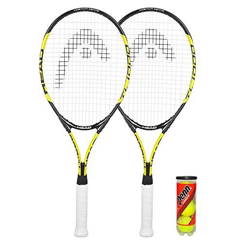 HEAD Titanium T1000 - Raqueta de tenis (2 unidades, funda protectora y 3 pelotas de tenis)