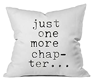 "BOOK NOOK DECOR - One 18"" x18"" throw pillow cover with ""Just one more chapter..."" in black as pictured. Ideal book decorations for your book nook. Fits 18x18 inches Size Pillow insert. PILLOW INSERT NOT INCLUDED. BOOK LOVER GIFT - This reading pillow..."