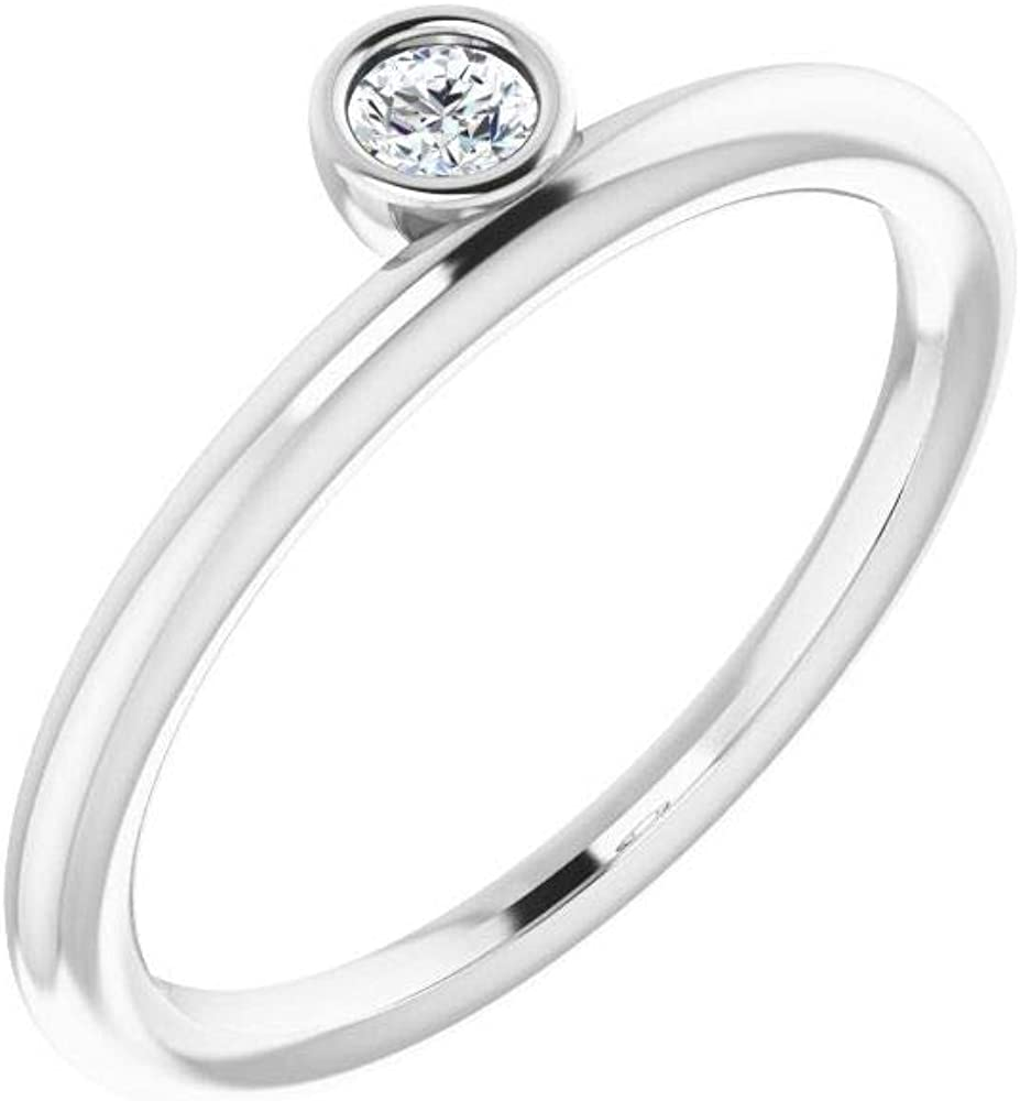 Solid 14k White Gold Solitaire 1/10 CT Diamond Asymmetrical Stackable Wedding Anniversary Ring Band (.10 Cttw)