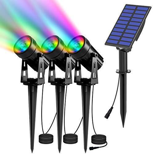 T-SUN Luces Solares Led Exterior Jardin, 3 en 1 LED Foco Solar con RGB 6 Cambio de Color 2 Nivels Brillo Ajustables Impermeable 270º Gran Angular de Luz Iluminación para Camino Césped Entrada.