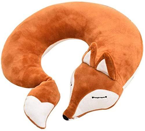 Reisekissen Flugzeuge Kinder Fuchs Tier U-Form Nackenkissen Plüsch Fell Warm Cartoon Bequemes Gepäck Kissen für Flugzeug Auto Zug (Braun)