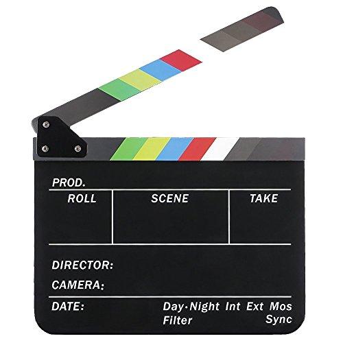 Tablilla de pelicula - TOOGOO(R)Tablilla de pelicula de cine de director borrada en seco Pizarra Claqueta de escena de accion de corte con palos de colores