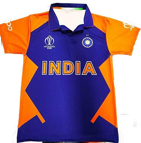 Indien Cricket Shirt Cricket Trikot Weltmeisterschaft 2019 Edition Tops Gr. M, Blau, Orange