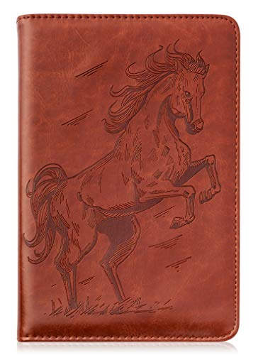 Horse Writing Journal by SohoSpark, Refillable Faux Leather, Lined Personal Diary for Travel, 6x8.75 Notebook for Writers. Fountain Pen Safe with Lay-Flat Binding.