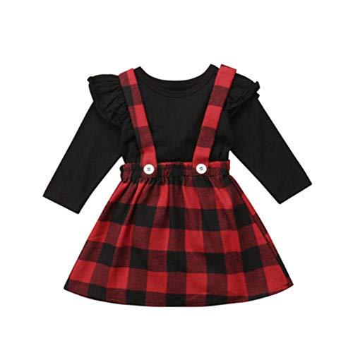 Geagodelia Mädchen Weihnachtskleid Rot Kariert Baby Kleid Langarm T-Shirts Oberteile Weihnachten Kleidung Outfits Set Festlich Kleider Weihnachtskostüm (Schwarz, 3-4 Jahre)