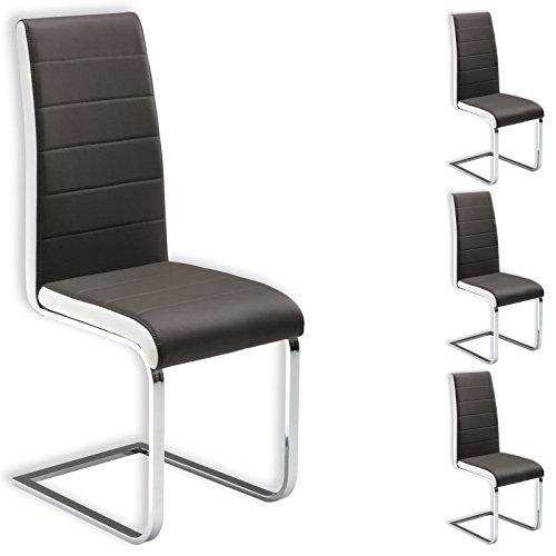 IDIMEX Schwingstuhl Freischwinger Esszimmerstuhl Küchenstuhl Stuhlgruppe Evelyn, 4er Pack, Lederimitat grau