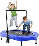 Profun Mini Trampolín Fitness Interior / Exterior - Manillares Ajustables y Sistema de Cuerda Elástica para Niños / Adultos (Carga máxima: 220 lbs) (Azul)