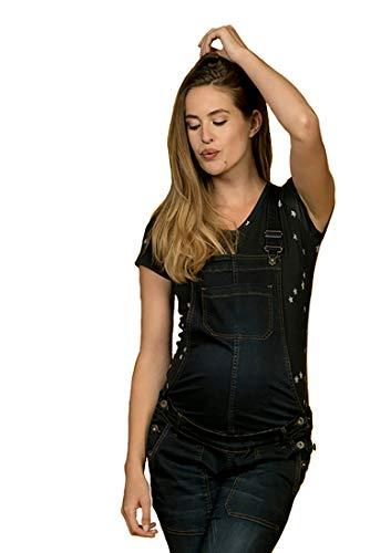 Love2Wait Damen Schwangerschaftslatzhose Umstands-Jeans mit verstellbarem Bund und großen Taschen, Gr.-M/ Herstellergröße- 30, Schwarz (Charcoal)