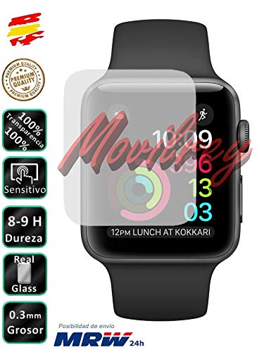 Movilrey Protector para Reloj Apple Watch Series 3 42 mm Cristal Templado...