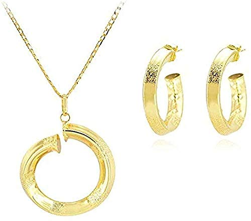huangxuanchen co.,ltd Necklace Sets Big Round Stud Earrings Necklace Pendant Spike for Women for Party Wedding Daily Necklace Length 45Cm