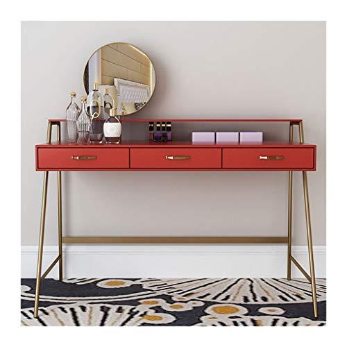 Xxg Tocador Mesa,Maquillaje con Taburete Y Espejo Plegable, Mesa Brillante Roble Tocador de Dormitorio (Color : Red, Size : 80x45x75cm)