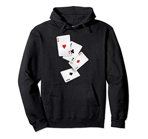 Vintage Four Aces Play Poker Win Lucky Player Winner Costume Pullover Hoodie