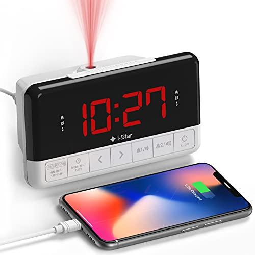 Despertador Proyector Techo, Reloj Despertador Digital con Radio, Cargador USB, Pantalla LED Digital, Función Snooze (Blanco)