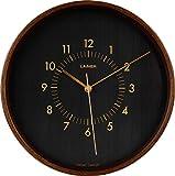 LAiMER Orologio da parete in legno di noce con quadrante nero, diametro 30 cm, movimento al quarzo con batteria, facile da leggere - per cucina, soggiorno e camera da letto - decorazione