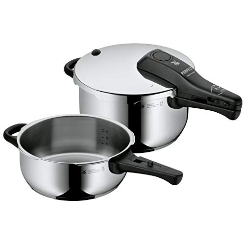 WMF Perfect Schnellkochtopf Set Induktion 2-teilig, Dampfkochtopf 4,5l + 3,0l, Cromargan Edelstahl poliert, 2 Kochstufen, Einhand-Kochstufenregler