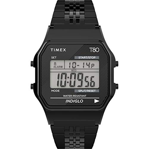 Timex T80 34mm Watch – Black with Stainless Steel Bracelet