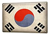 LEotiE SINCE 2004 Blechschild Dekoschild Küche Garage Welt Reise Korea Süd Flagge Wand Deko Schild 20X30 cm