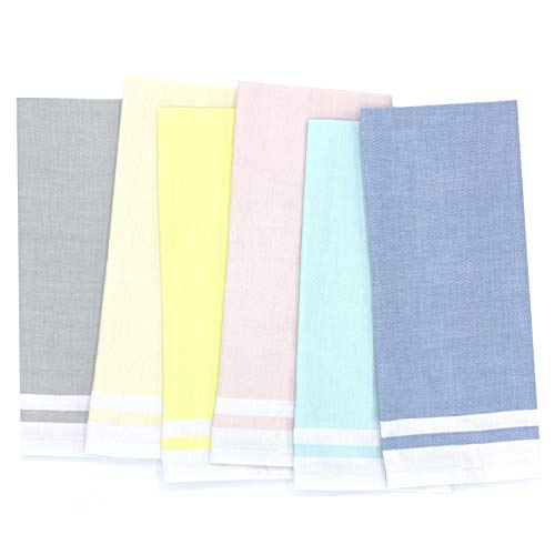 The Accented Co Kitchen Towels Set of 6 - Egyptian Cotton Dish Towels - Absorbent Fast Drying Soft Tea Towel Set with Hanging Loop 28x18 in Assorted