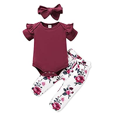 Renotemy Newborn Girl Clothes Outfits Ruffle Short Sleeve Tops + Floral Pants Sets Spring Fall Summer Baby Girl Clothes 3-6 Months Red by