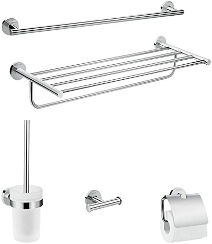 Hansgrohe Logis Universal Handtuch- Toilettenpapierhalter Bad-Accessoire (Ablage, Set 5-teilig, Toilettenbürste mit Halter, Haken) chrom