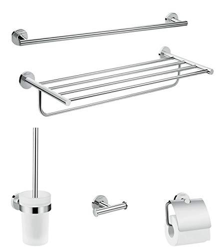 hansgrohe Logis Universal Handtuch-/Toilettenpapierhalter Bad-Accessoire (Ablage, Set 5-teilig, Toilettenbürste mit Halter, Haken) Chrom