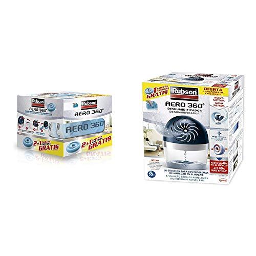 Rubson 2178378 Tabletas de Recambio, Set de 3 Piezas + Aero 360 450 G Deshumificador que Limpia El Aire, El Olor y Evita El Moho