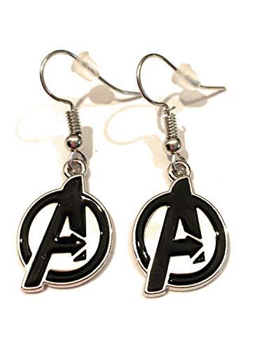 giulyscreations Pendientes de metal sin níquel con logo de los Vengadores, Iron Man, Capitán América, Doctor, Who Spiderman, Thor, Loki Thanos, Black Panter Comics Fantasy Pop Cosplay