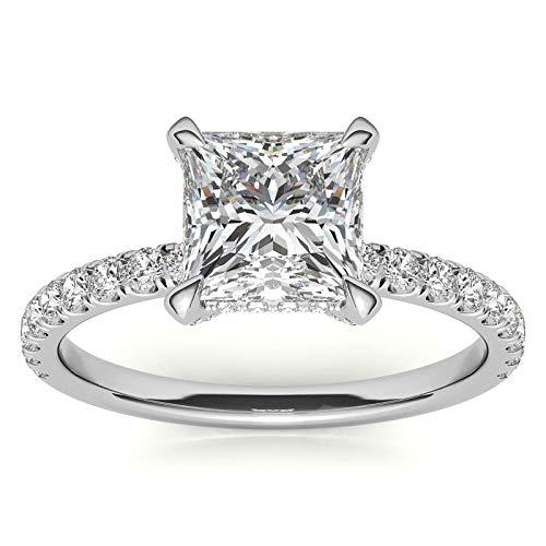 Customize Jewels - Anillo de compromiso con diseño de princesa de moissanita de 4 puntas de 1,0 quilates de 5,5 mm con diamante de laboratorio en oro blanco de 14 k D-VVS1 7