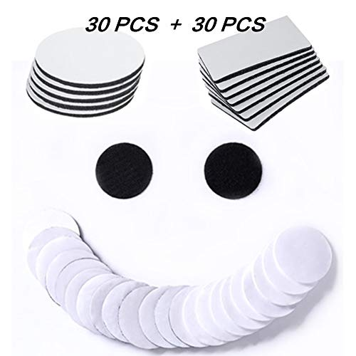 SPOKKI 60 PCS Hook and Loop Tape White Large Adhesive Tape Velcro Dots Round Square Double Self Adhesive Strips Waterproof Heavy Duty Rug Carpet Gripper Pad Wall Mounting Tape (60 PCS)
