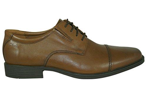Clarks Tilden Cap, Zapatos de Cordones Derby para Hombre, Marrón (Dark TanLea), 44 EU