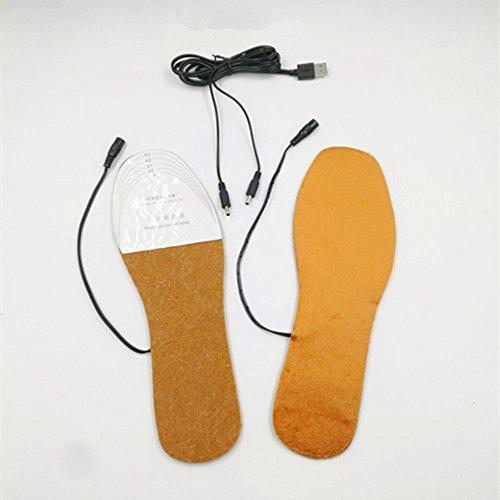 Distinct® 1 Paire USB Électrique Propulsé Chauffage Semelles Hiver Garder Pied Chaud pour Hommes Chaussures (L)
