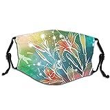 Diseño de moda 3D para proteger la cara, diseño de primavera, hojas digitales, lilas con rayos de sol, M