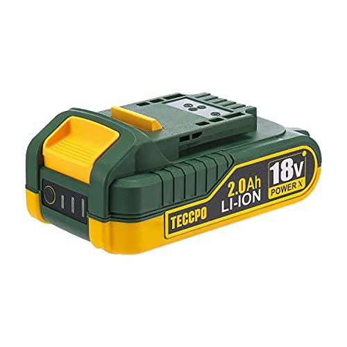TECCPO Professional Batería 18V Recargable de Ion de Litio, Batería de Repuesto de 2.0 Ah, para Todas Las Herramientas Eléctricas sin Cable 18 V de TECCPO - TDBP02P …