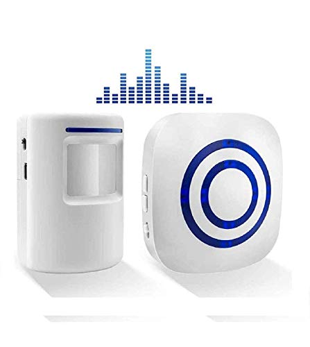 BeiLan Kit elettronico per campanello senza fili con 1 ricevitore plug-in e 1 rilevatore di movimento PIR Sensore 3 livelli di volume e 38 allarme suoneria visitatore Inteligent Ringtones