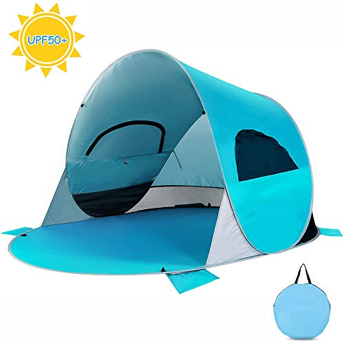 Tienda de Playa Pop Up 3-4 Personas Pop up automontable y Plegable con diseño de protección UV y Resistente al Agua configuración fácil Sombrilla portátil para Actividades Familiares Camping