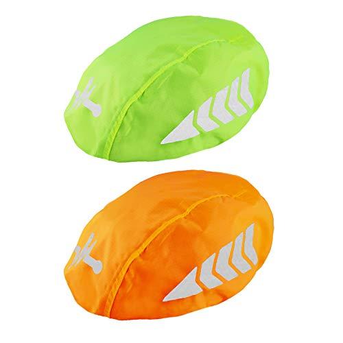 Frelaxy Fahrradhelm Regenüberzug, Wasserdichter Regenschutz Fahrradhelm, Helmüberzug Helm Cover Regenhülle Regenhaube Regencape mit Reflektoren (2 Stück - Neon Gelb+Orange, one Size)