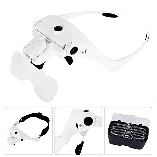 KKmoon Lupe Stirnband Brillenlupe【5 Objektiv/1.0 X-3,5 X/Verstellbare Halterung/mit 2 LED-Leuchten/Lupe Werkzeug】 USB Wiederaufladbare