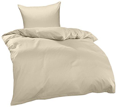 Bettwaesche-mit-Stil Mako Interlock Jersey Bettwäsche Garnitur Uni/enfarbig 100% Baumwolle 135x200 + 80x80 cm, Natur